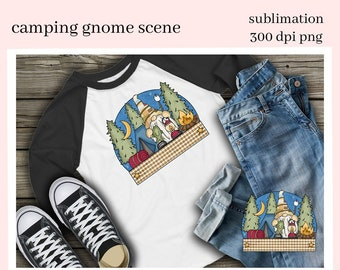 Camping Gnome Scene Sublimation Clipart - DIY Glamper Decor, Signs, Pillows, Coffee Mugs, Tumblers - Camper Gnome - T-Shirt & Hoodie PNG