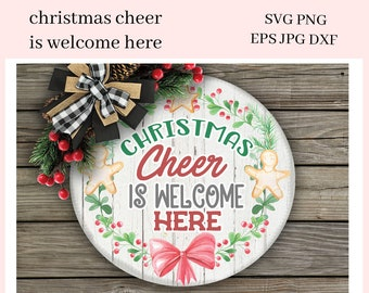 Christmas Cheer is Welcome Here Sublimation Clipart - DIY Xmas Party Printables - Create Holiday Bag Toppers, Christmas Ornaments
