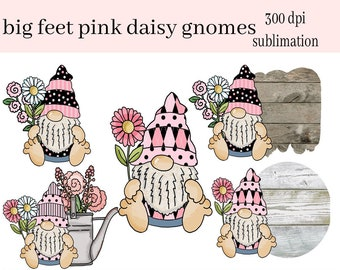 Big Feet Pink Daisy Gnomes Sublimation Clipart - Create Coffee Mugs, Tumblers, T-Shirts, Hoodies, Printable Gift Tags & Cards - Flowers PNG