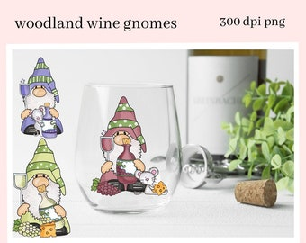 Woodland Wine Gnomes Sublimation Clipart - Gnome Lover Vino Glasses - DIY Tasting Party Invites - Holiday Hostess Gift Tags