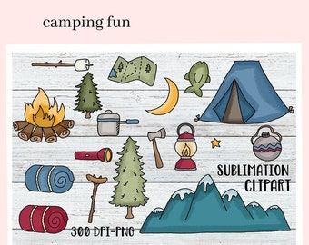 Camping Fun Sublimation Clipart - Scrapbook Elements - Create Camper Printables - DIY Camp Mugs & Tumbler Scenes