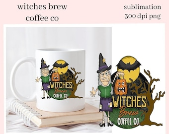 Witches Brew Coffee Co Sublimation Clipart - Halloween Lover Coffee Mug PNG - Spooky Witch, Bats - DIY Tumblers, Party Printables & Tags