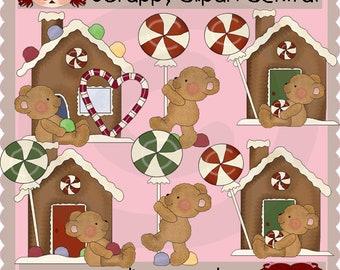 Boo Boo Bear Gingerbread House Clipart - Christmas Candy JPG - Holiday Graphics - Xmas Bear