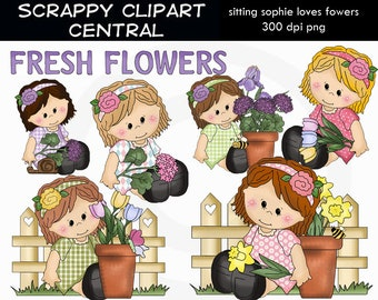 Sitting Sophie Loves Flowers Clipart - Create Mother's Day Printables - Commercial Use - Word Art - Scrapbooking Elements
