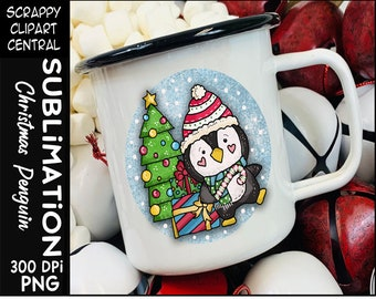 Christmas Penguin Sublimation Clipart - Christmas T-Shirt Design - Coffee Mug PNG - Create DIY Printables - Personal & Commercial Use