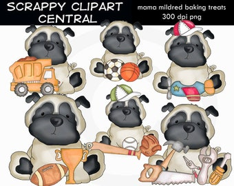 Pugsley All Boy Clipart - Create Mother's Day Printables - Commercial Use - Sports & Tools PNG - Father's Day  - Pug Puppy Clipart