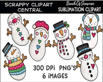 Bunch of Snowmen Sublimation Clipart - Bright Snowman T-Shirt Design - Coffee Mug PNG - Create DIY Printables - Personal & Commercial Use