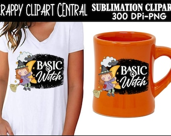 Basic Witch Sublimation Clipart - Mythical Creature - Create Cute Halloween Kids Party Printables & T-Shirts - Coffee Mug PNG