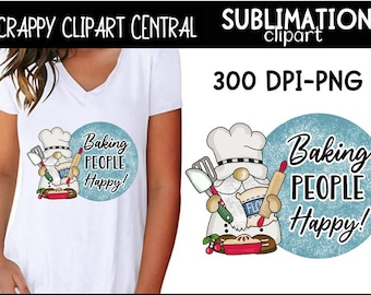 Baking People Happy Gnome Sublimation Clipart - Create Kids Printables & T-Shirts - Tea Towel Designs - Bakery Pot Holder PNG