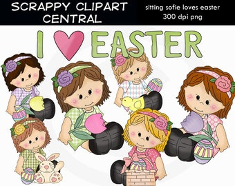 Sitting Sophie Loves Easter Clipart - Create Easter Printables - Commercial Use - Word Art - Scrapbooking Elements - Flowers & Bunny PNG