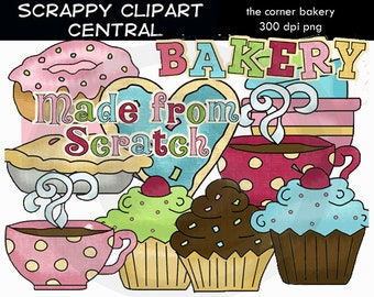 The Corner Bakery Collection Clipart - Create Printables - Commercial Use - Word Art - Baker Lover Scrapbook Elements -  Cupcake Cookies PNG