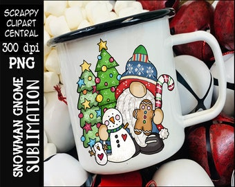 Snowman Gnome Sublimation Clipart - Merry Christmas T-Shirt Design - Coffee Mug PNG - Create DIY Printables - Kids Shirts - Party Supplies