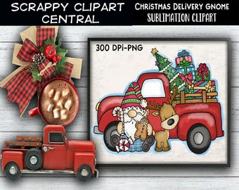 Christmas Delivery Gnome Sublimation Clipart - Christmas T-Shirt Design - Coffee Mug PNG - Create DIY Printables - Personal & Commercial Use