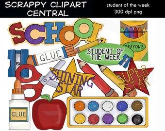 Student of the Week Clipart - Create School Teacher Printables - Commercial Use - Word Art - Shining Star - Scrapbook Elements -