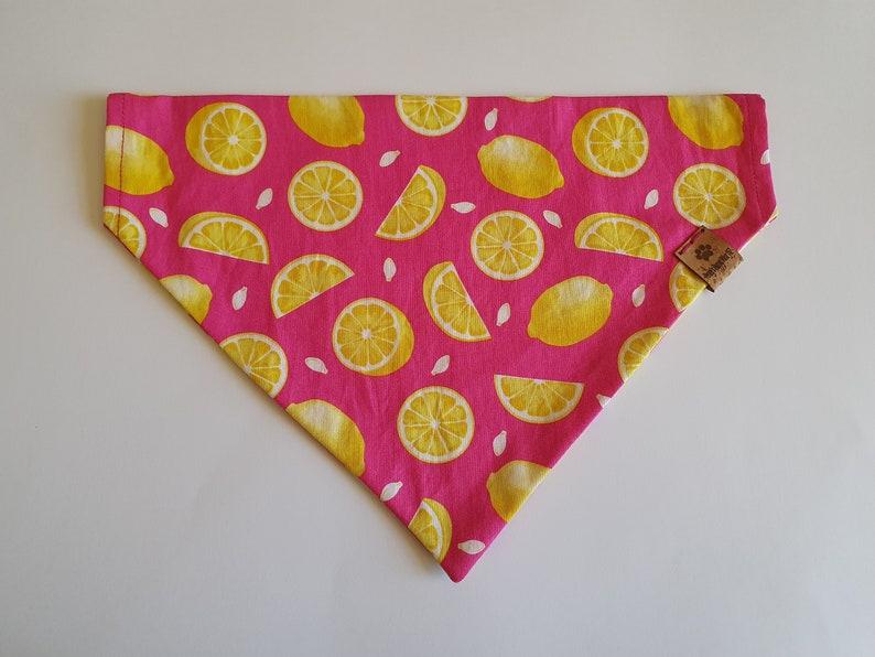 Over the Collar Dog Bandana Lemon on Pink Lemon print PERSONALISED Pink Dog Bandana