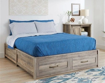 Rustic Farmhouse Platform Bed, Platform Bed with Storage Drawers, Queen Size Rustic Platform Bed, Rustic Bed Frame, Platform Bed Frame