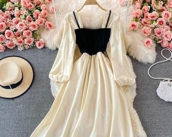 Cottagecore Dress-A Line Dress-Milk Maid Dress-Vintage Dress-Long Sleeve Dress-French Dress-Cottage Dress-Formal Dress-Prairie Dress-Autumn