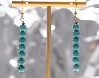 Turquoise Round Bead Drop Earrings, Gold Tone Dangle Earrings, Blue Bead Earring, Minimalist, Handmade, Gifts for Her