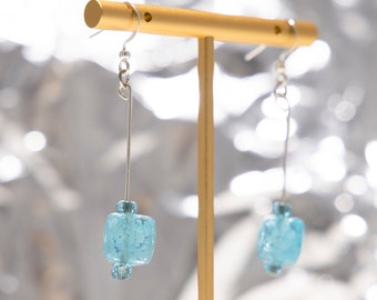 Aqua Glass Bead Minimalist Drop Earrings, Dangle Earrings, Dainty, Lightweight, Blue Bead Earring, Silvertone, Handmade, Gifts for Her