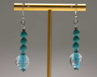Turquoise and Glass Bead Drop Earrings / Silver Tone Dangle Earrings, Blue Bead Earrings, Handmade, Gifts for Her