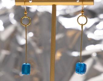 Blue Cube Bead Minimalist Drop Earrings, Lightweight Dangle Earrings, Dainty, Blue Bead Earring, Goldtone, Handmade, Gifts for Her