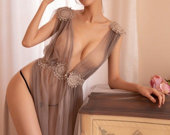 Nude Under Sheer Nightgowns Plus Size