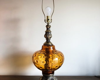 Large Mid Century Amber Glass Lamp, Hollywood Regency Style Lamp, MCM Amber Glass Lamp, MCM 1960's Table Lamp