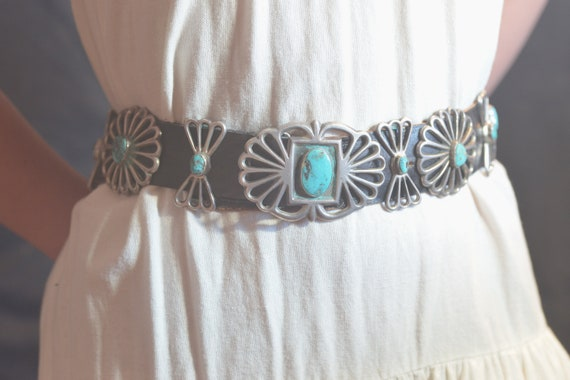 Old Pawn Turquoise Concho Belt Silver Sandcast vin