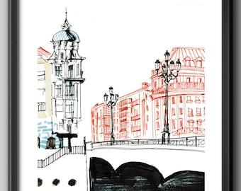 Arenal Bridge / Foil / Print / Ink / Decorate your wall / urban sketch / Bilbao