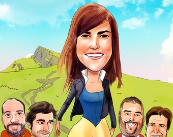 Custom Digital Cartoon / With or Without Background / Digital File Sending / Free Shipping / Gift