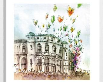 Teatro Arriaga de Bilbao / sheet 20x20 cm. / print / urban sketch / drawing / illustration / butterflies / Bilbao