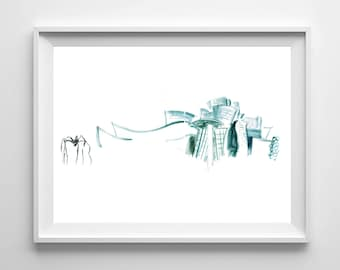 Bilbao Guggenheim Museum / foil / print / illustration / drawing / decorate your wall