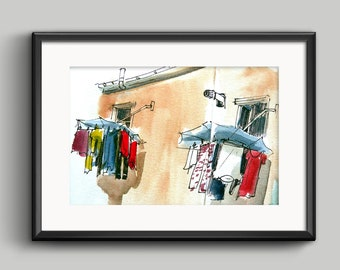 Atxuri hangers / foil / print / no frame / urban sketcher illustration / ink and watercolor / architecture and urban landscape