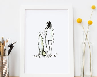 Girl and Wolf - Print Print Print in A4 Size / Art / Decorate Your Wall / Animal