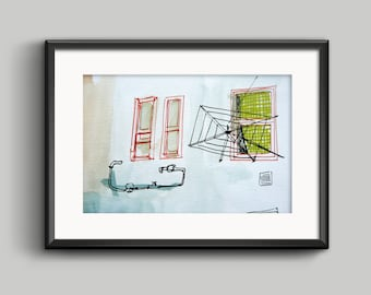 Hanger and window - Sheet / print/ frameless / urban sketcher illustration / ink and watercolor / architecture and urban landscape