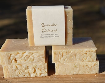 4 Pieces - Lavender Oatmeal - All Natural Bar Soap - Handmade Soap Made With Shea Butter, Olive Oil and Goat Milk