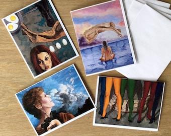 Surreal WomenNotecard Assortment. Set of 4