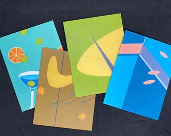 Mid Century Modern Notecard Assortment - Set of 8, Retro Design Cards, Atomic Design, Mid Century Modern Cards, Mid Century Inspired