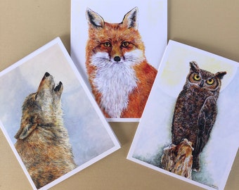 Forest Animal Cards, Animal Lover Cards, Animal Painting Cards, Wild Life Cards, Nature Lover Cards, Animal Drawing Cards