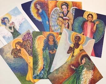Colorful Angel Art Carts, Set of 8, Guardian Angels, Inspirational Angels, Celestial Angels, Spiritual Angel Art