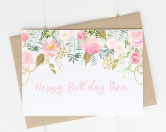 Instant Download Birthday Greeting Card for Mom  Printable Birthday Card with Watercolor Elements  Happy Birthday Greeting for Mother PDF