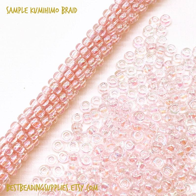Miyuki #265 80 Seed Beads 15g 30g Round Japanese Seed Beads Transparent Pale Pink AB MY-08-265