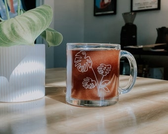 Glass Coffee Mug with Etched Monstera Design | Personalization Available | Dishwasher Safe