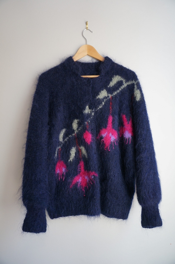 80's Floral Mohair Cardigan