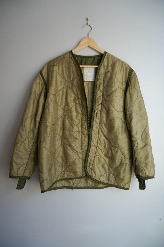 Vintage Army Green Dark Olive Quilted Liner Jacket
