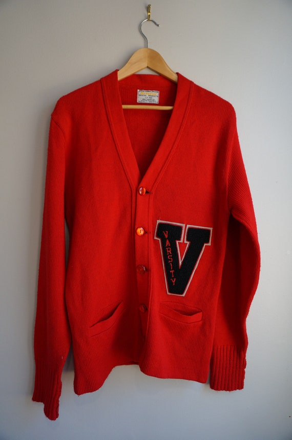 Vintage 60's Red Varsity Letterman Cardigan Sweate