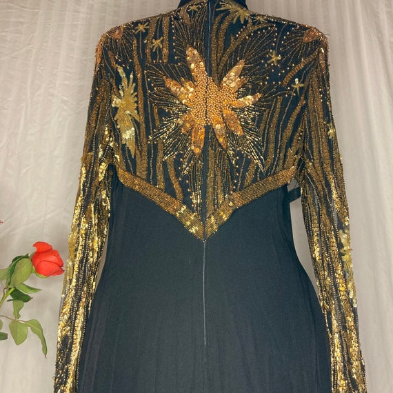 Vintage Bob Mackie black with gold beading dress