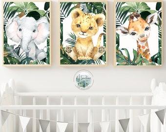 Printed Safari Nursery wall prints, Safari animal nursery prints, Animal nursery wall art