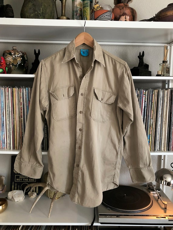 Vintage 60's Distressed Khaki Button Up Military A