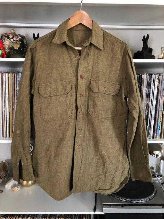 Vintage Faded Wool Military Shirt Jacket